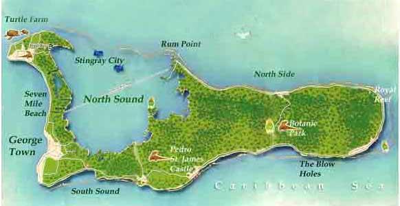 Cayman Islands Travel Information - Cayman islands cities map